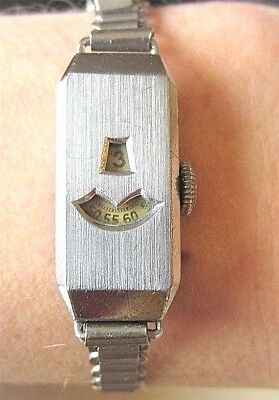 Rare Ladies 1930s Art Deco SS Digital Jump Hour Bracelet Watch Serviced
