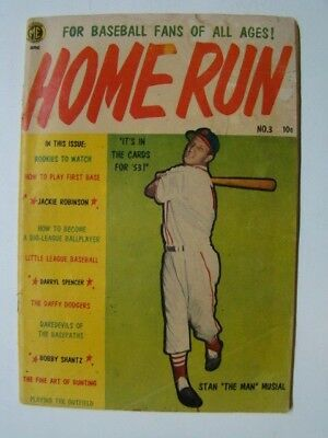 Home Run Comics #3 Stan Musial Photo Cover Magazine Enterprises Comics 1953 VG