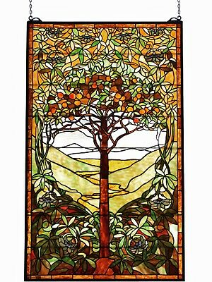 "48"" Tall X 29"" Wide - Large Tiffany Style Tree of Life Stained Glass Window -"