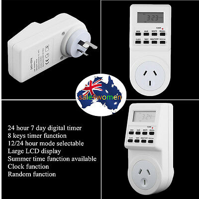 7 Day Digital Electronic LCD Plug-in 12/24 Hour Timer Switch AU Plug Socket A ZO