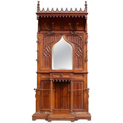 A Continental Gothic Revival Carved Walnut Hall Stand, circa 1890