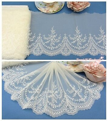 "7""*1Y Embroidered Floral Tulle Lace Trim~Cream+White~Elegant Beauty~Wedding/DIY~"