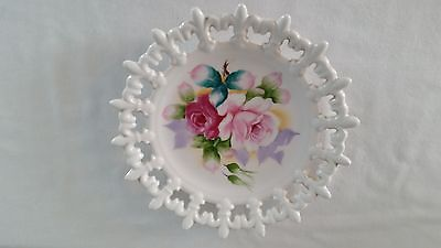 Lefton China Hand Painted Floral Rose Decorative Plate w/Fleur de Lis Border