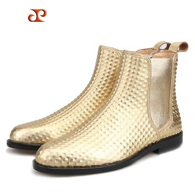 d0a08b1cf30 Men Gold Big Size Chelsea High Top Genuine leather Gold Formal Dress Shoes  Boots