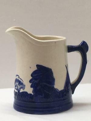 "Old Antique SLEEPY EYE Stoneware Pitcher Monmouth 6"" Cobalt Blue & White Indian"