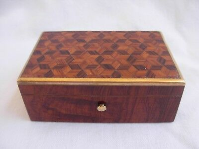 Antique French Inlaid Wood,brass Box,napoleon Iii Period.