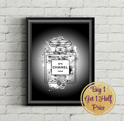Fashion Black Coco Chanel Colour Prints Poster Wall Art Perfume Print Decor