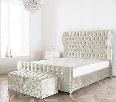 White Crushed Velvet Westminster Winged Bed + Mattress + Button Choice
