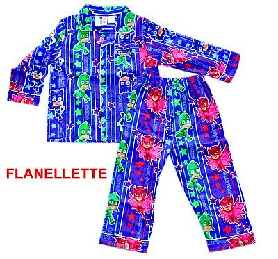 NEW Sz 2~6 PJ MASKS NINJA PJS KIDS PYJAMAS BOYS WINTER FLANNEL SLEEPWEAR NIGHTIE