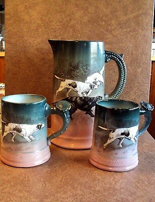 C.1900 Laughlin Art Pottery Lrg Tankard/Pitcher + 2 Mugs - Pointers & Setters