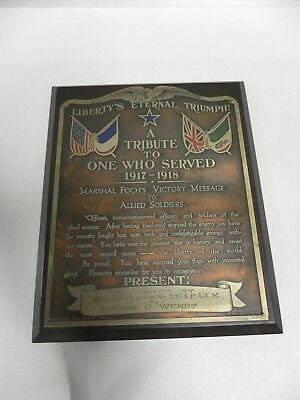 Antique WWI Libertys Eternal Triumph Marshal Foch's Victory Message Plaque (A35)