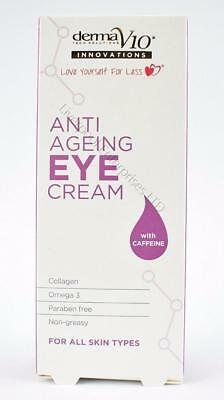 ** 2 X DERMA V10 ANTI AGEING EYE CREAM 15ml EACH NEW ** CAFFEINE PARABEN FREE