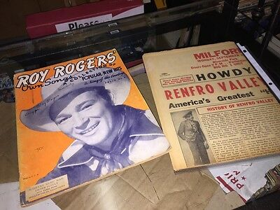 Roy Rogers Own Songs 1943 Music Book And Renfro Valley Folk bluegrass paper Ad