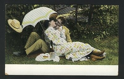 Old Vintage Romantic Couple Kissing with Umbrella Postcard