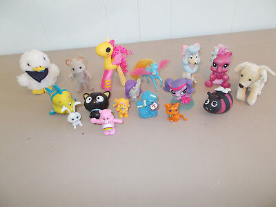 Lot of 17 Mixed Small Girls Type Toy Figures Horses Pegasus Care Bear Dogs
