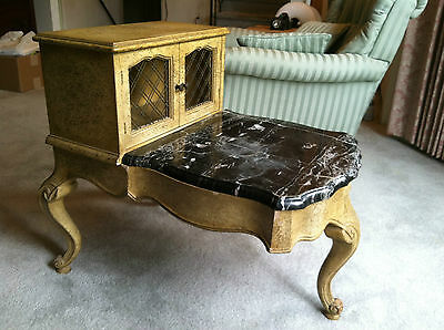 Antique 1940's to 1950's Small Table with Marble 3 Legs Vintage