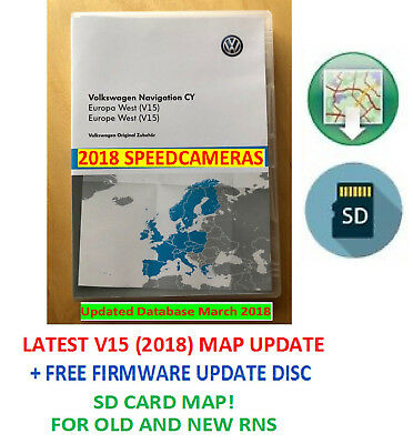 RNS510 2018 V15 SD MAP VW SKODA SEAT West Europe + 5238 Update CD +  SPEEDCAMS