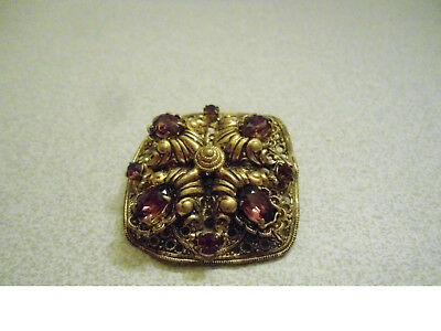 Vintage Brass Brooch 4 Large Oval 4 Small Round Amethyst Stones