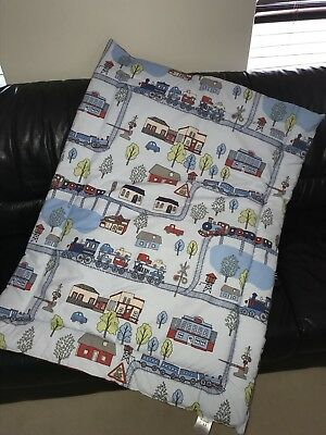 Blue Trains Cot Quilt or Playmat Handmade NEW