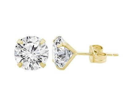 3ce6a4827 14K Solid Yellow Gold Round CZ Stud Earrings sizes 3-8MM Genuine Gold