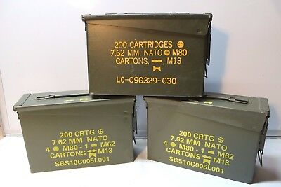 THREE 30 Cal Army Ammo Can Military Marine Metal Storage Box 7.62 MM 308
