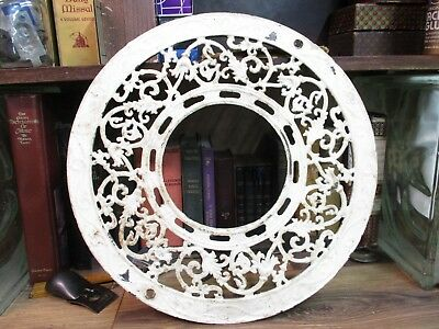HEAT VENT round cast iron ornate ceiling grate register VINTAGE 1900's ANTIQUE
