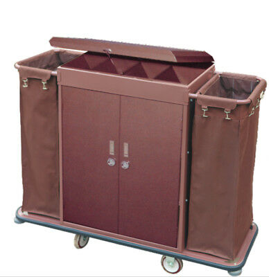 Guest room service Hotel cart  All Metal with 2 bag - Cover - Locked shelves