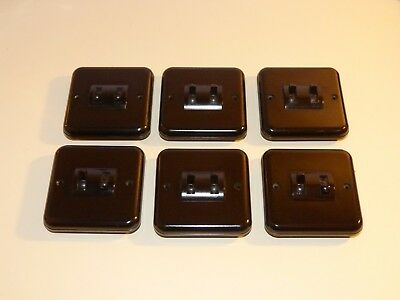 Job Lot 6X Vintage Crabtree  Brown Bakelite 2 Gang Light Switches