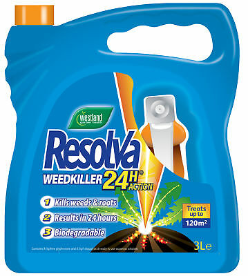 3L + 20% EXTRA FREE!! Resolva 24h Ready To Use Strong Weed Killer Refill Bottle