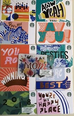11 New Starbucks Gift Cards Lot Mothers Day 2018 Complete Recycled Paper Set