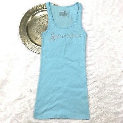 VICTORIA'S SECRET I Do Honeymoon Bride Just Married Ribbed Blue Tank Top Sz M