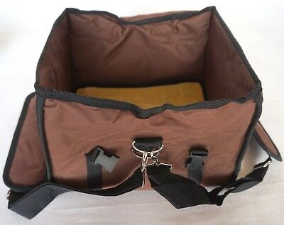 Top Open Folding Small Pet Carrier w/ Zip Up Window & Carry Straps Brown Nylon