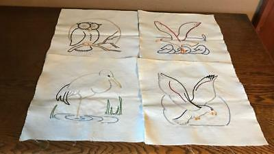 "Lot of 24 Vintage 9"" Embroidered Quilt Squares Birds OWL EXCELLENT CONDITION"