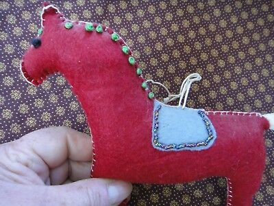Vintage Swedish Dala Horse hand embroidered and beaded Horse hair tail
