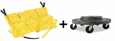 """YELLOW ROUND Caddy Bag + Trash Can Dolly 5 Caster, 18"""" Gray"""