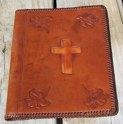 antique vintage hand tooled leather Bible cover BEAUTIFUL
