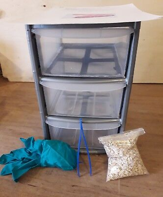 14l 3 tier Mealworm Breeding Tower Starter Kit (Includes live insects)(feeders)