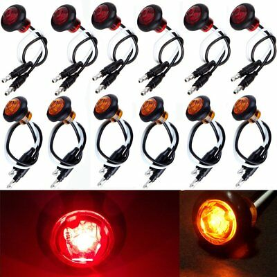 12x Amber & Red Round Bullet Clearance Side Marker Truck Trailer Mini LED Lights
