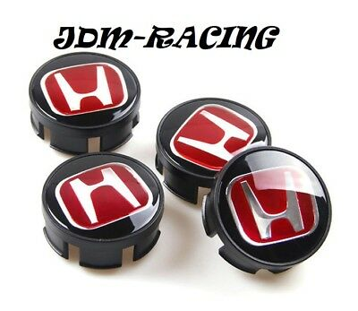For HONDA CIVIC FIT Set of 4 JDM Red H Wheel Center Caps Hubs Cover 58mm Cap