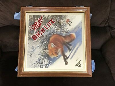 Miller Beer Sly Red Fox Mirror Hunting Man Cave Bar Scott Zoellick