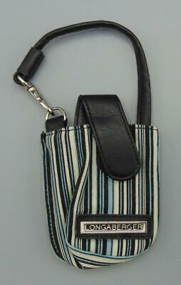 Longaberger Sisters Summer Stripe Blue, Black, &White Stripes Cell Phone Wris...