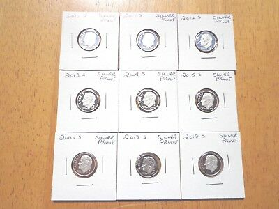2010 2011 2012 S 2013 2014 2015 2016 2017 2018 S Roosevelt Dime Silver Proof Set