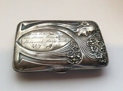 "ANTIQUE GERMAN 800 Silver CIGARETTE CASE 1913 Art Nouveau ""Be Happy"" In German."
