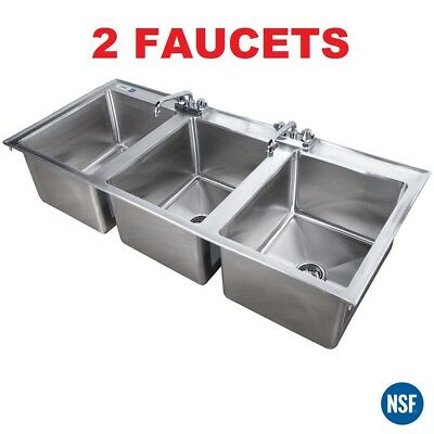 "16"" x 20"" x 12"" Stainless Steel Three Compartment Drop-In Sink w/ Two 8"" Faucets"
