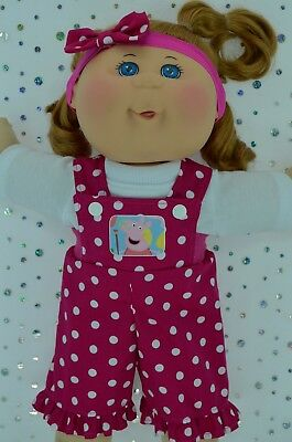 "PlaynWear Doll Clothes For 14"" Cabbage Patch POLKA DOT BIB DUNGAREE~TOP~HEADBAND"
