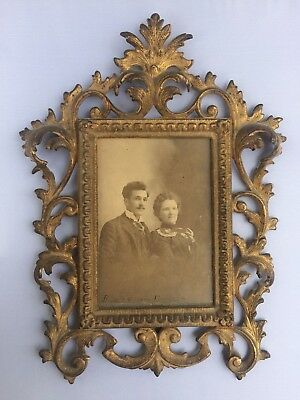 Antique 1800`s Victorian Metal Ornate Picture Frame Easel  w Picture Floral