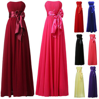 Women Strapless Bridesmaid Wedding Cocktail Evening Party Prom Dress Ball Gown
