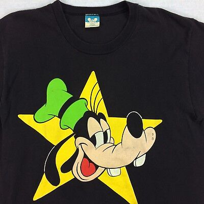 1ad7c86419 VINTAGE 80S 90S USA Made Goofy Disney T-Shirt size XL Black Star Huge Print