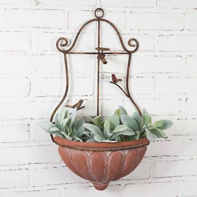 Rustic Primitive Wall Hanging Mounted English Flower Garden Wall Planter