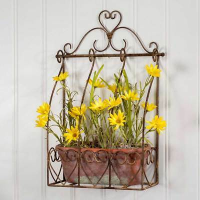 Rustic Primitive Hanging Mounted Chancery Wall Planter Flower Garden Home Decor
